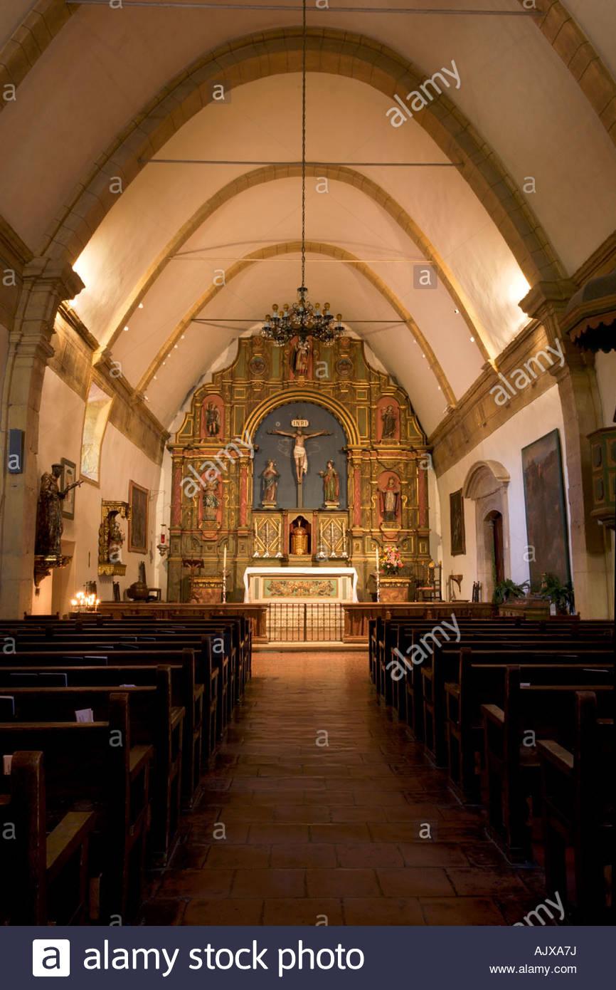 Carmel Mission Chapel Interior Carmel by the Sea California Stock Photo -  Alamy