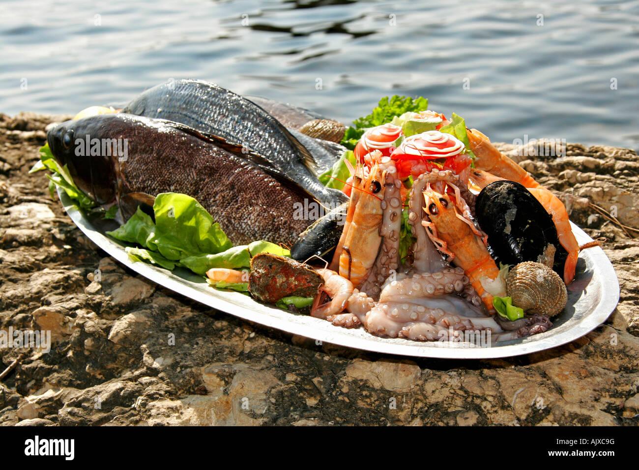 Kroatien Bucht, Restaurant Ankora am Hafen von Zaton Frische Meeresfruechte mit Gemuese | Croatia Fresh seafood - Stock Image