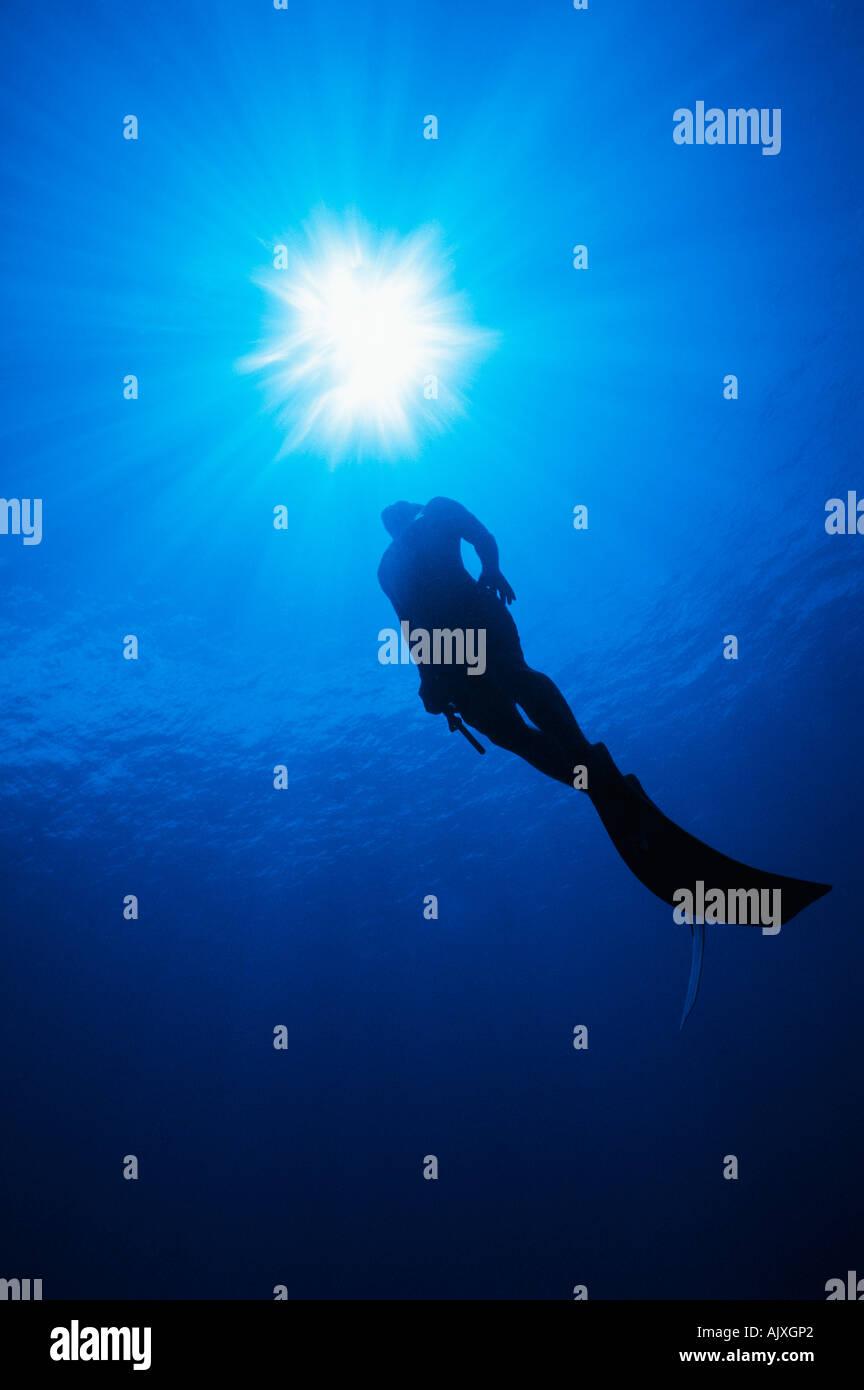Polynesian skin diver surfaces from a breath hold dive Rangiroa Atoll Tuamotus French Polynesia Pacific Ocean Stock Photo