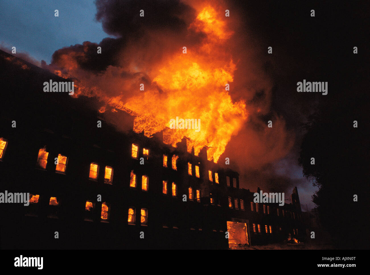 Accident & disaster. Fire. Building. Warehouse factory fire. Redfern. Sydney. Australia. 1980s. - Stock Image