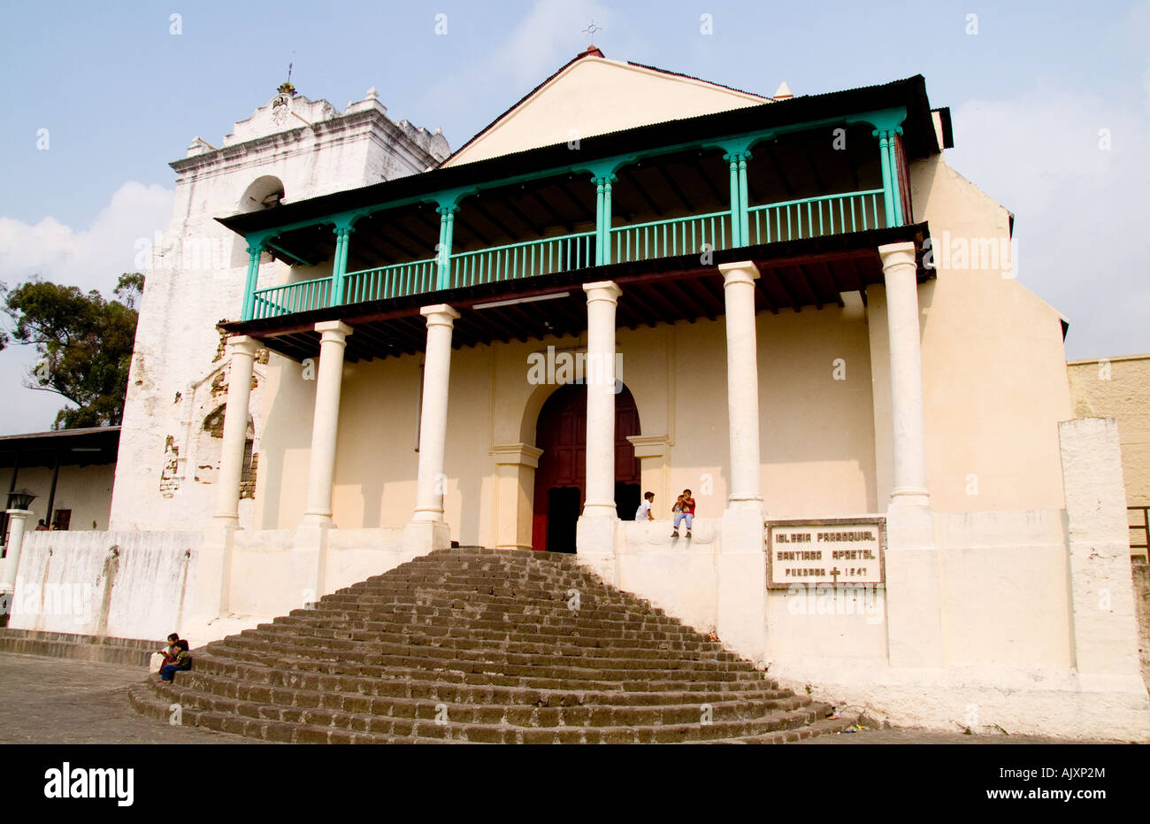 Large famous cathedral in Lake Atitlan village of San Santiago Guatemala in Central America - Stock Image