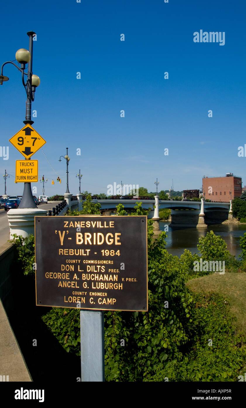 The famous Y Bridge in Zanesville Ohio over the Muskingum