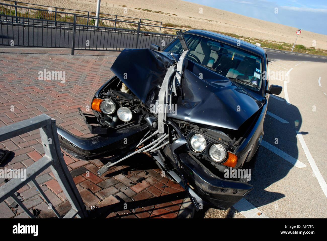 Car Accident Car Crash Into Railings Uk Stock Photo 14832680 Alamy