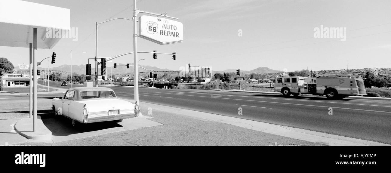 Car parked on Route 66 in Kingman Arizona - Stock Image