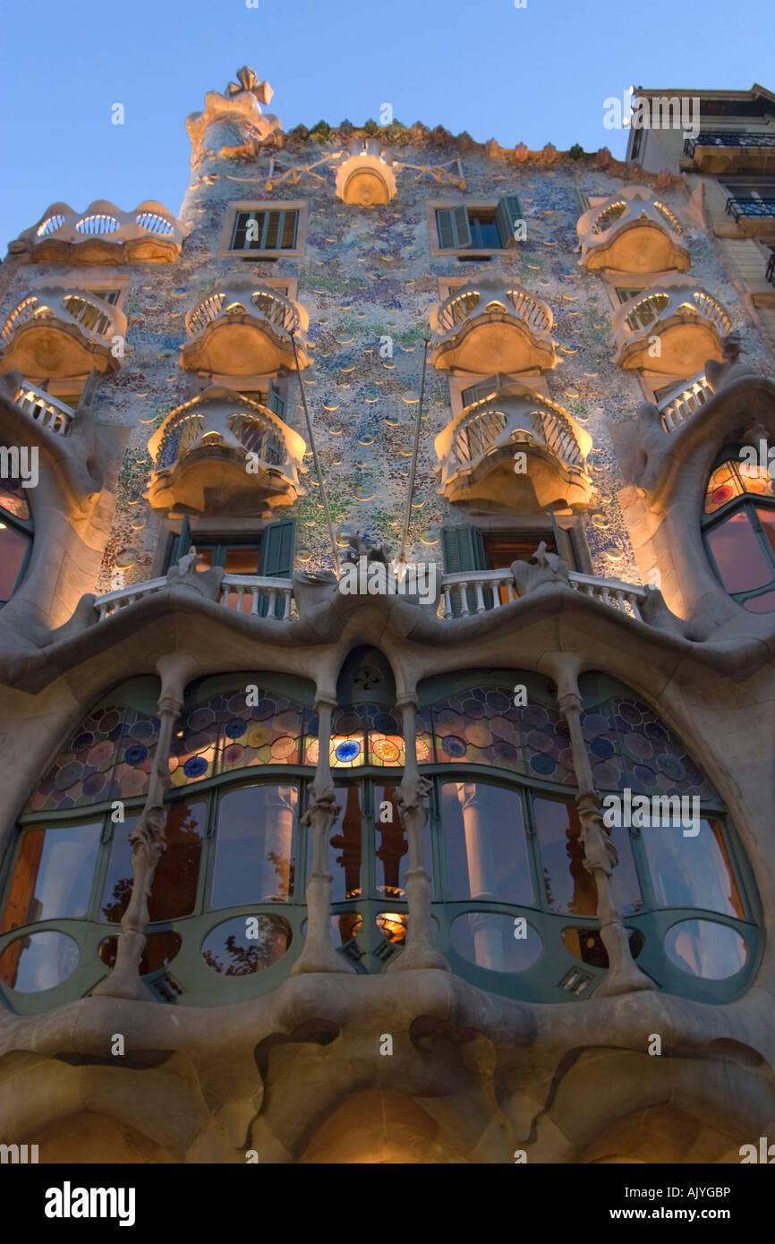 Barcelona Passeig de Gracia Casa Batllo by Antonio Gaudi Facade at night Stock Photo