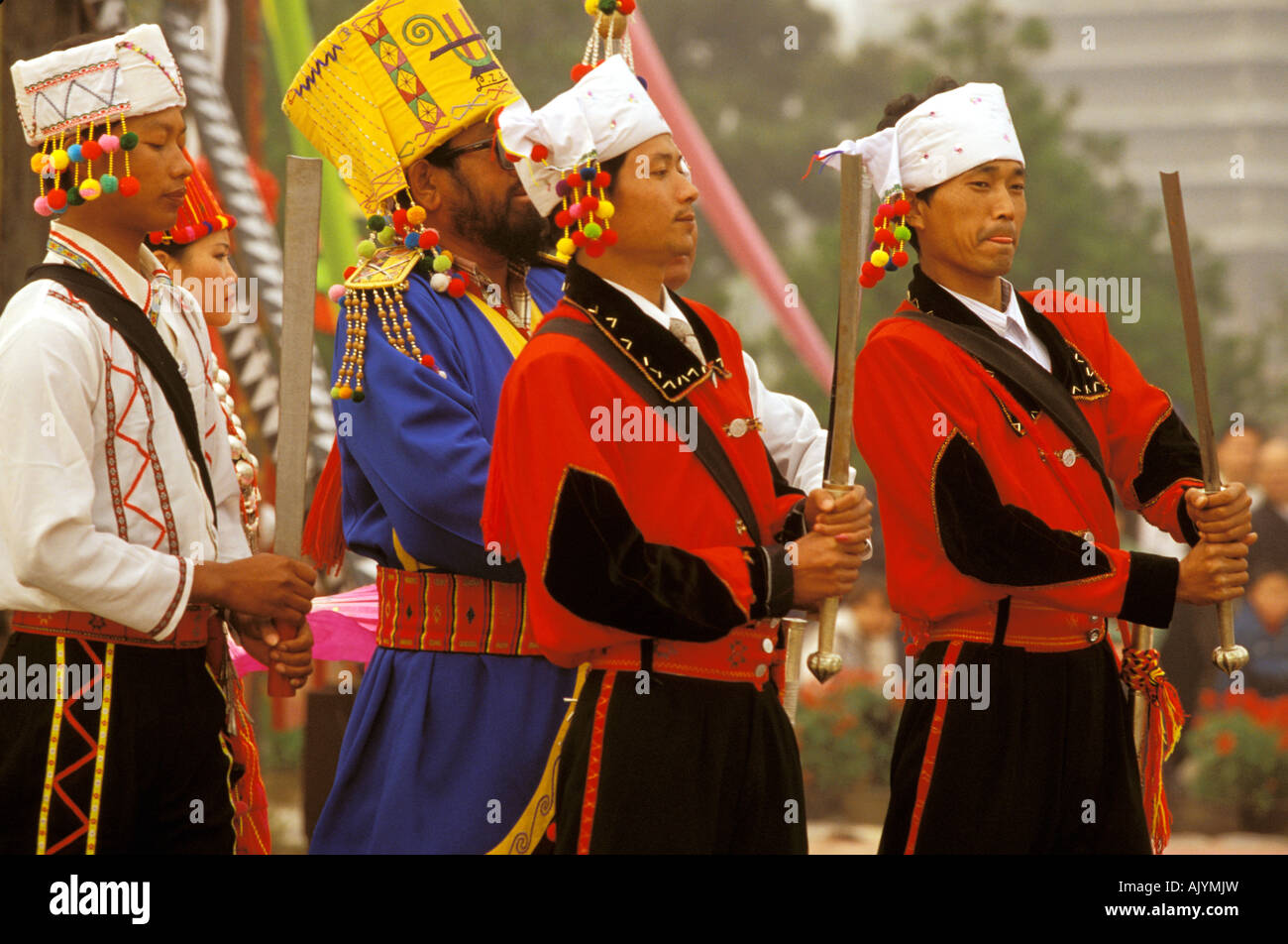 Chinese Ethnic Culture Park Marching band Jingpo ethnic costume  sc 1 st  Alamy & Asia China Beijing. Chinese Ethnic Culture Park Marching band ...