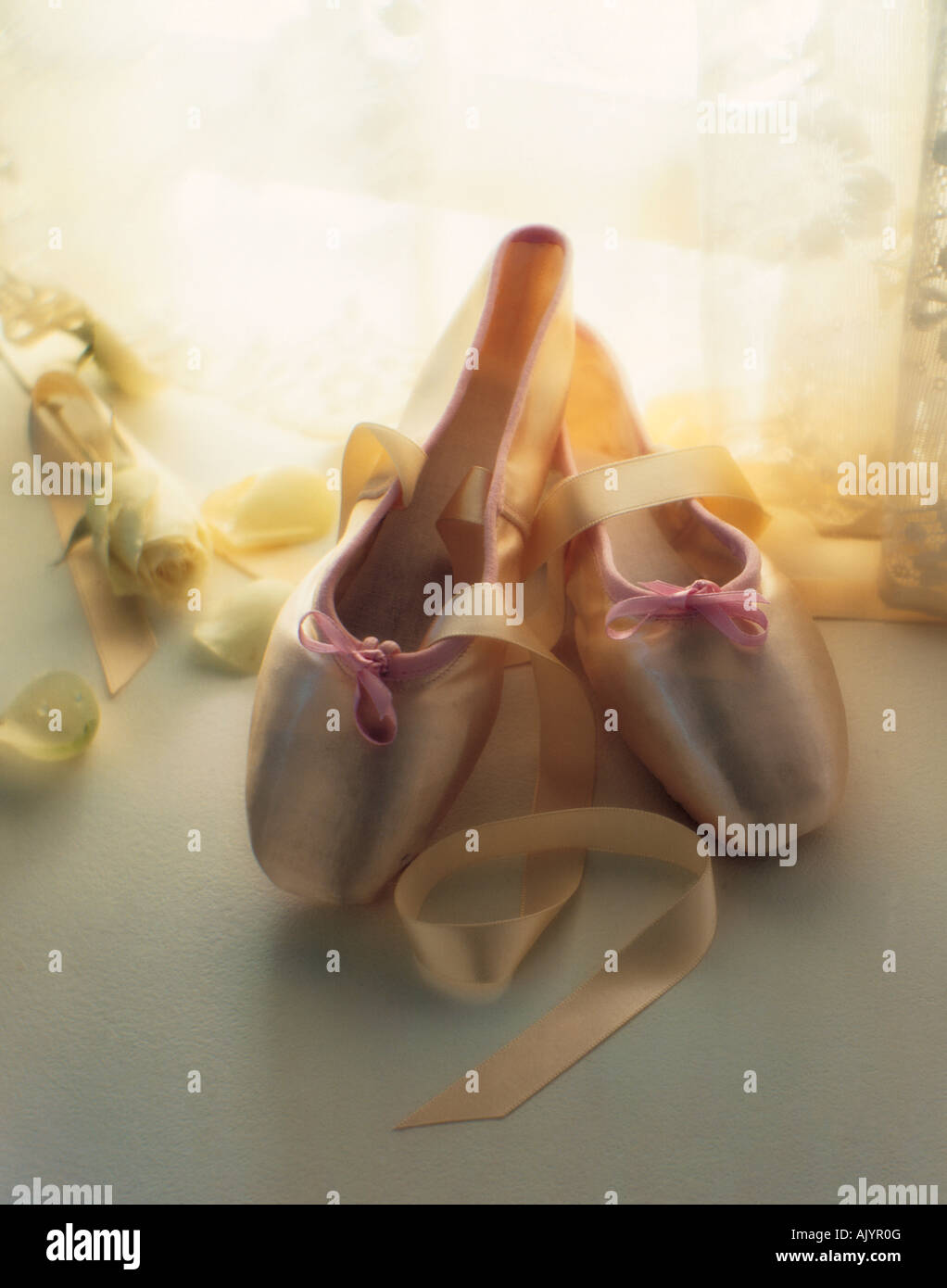 Still life of ballet shoes. - Stock Image