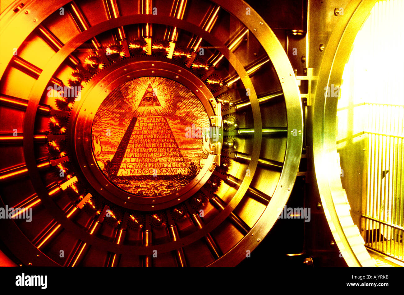 circular bank vault with a pyramid symbol from a one dollar bill US composited on door & circular bank vault with a pyramid symbol from a one dollar bill US ...