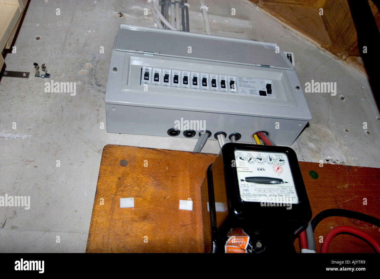 uk electrical fuse box under stairs of house with standard stock rh alamy com home electrical fuse box diagram Electrical Switches and Fuse Boxes
