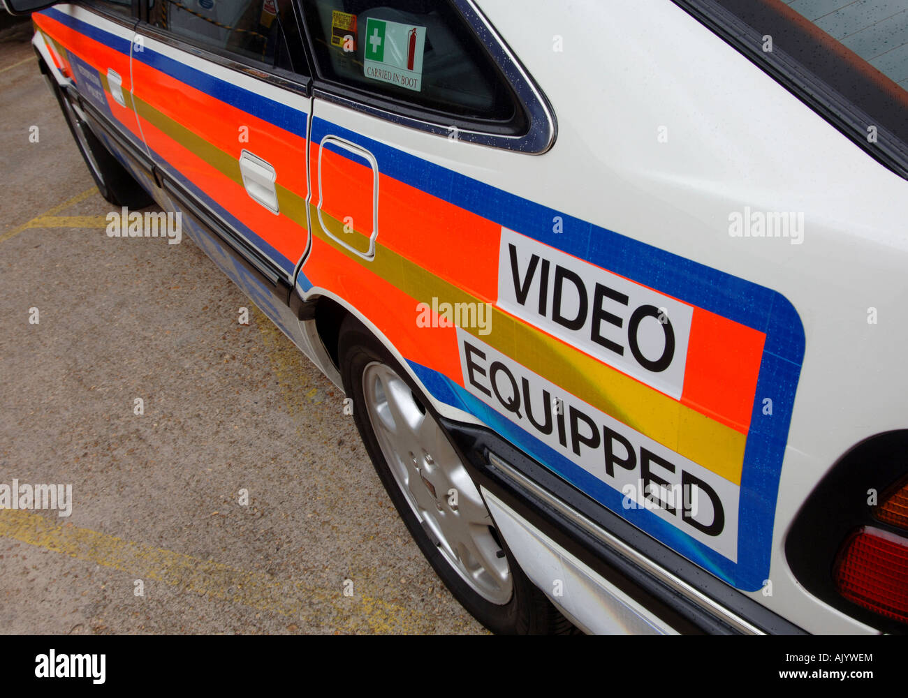 827 Stock Photos Images Alamy Rover Wiring Diagram Video Equipped Reflective Markings On A Police We Are Watching You