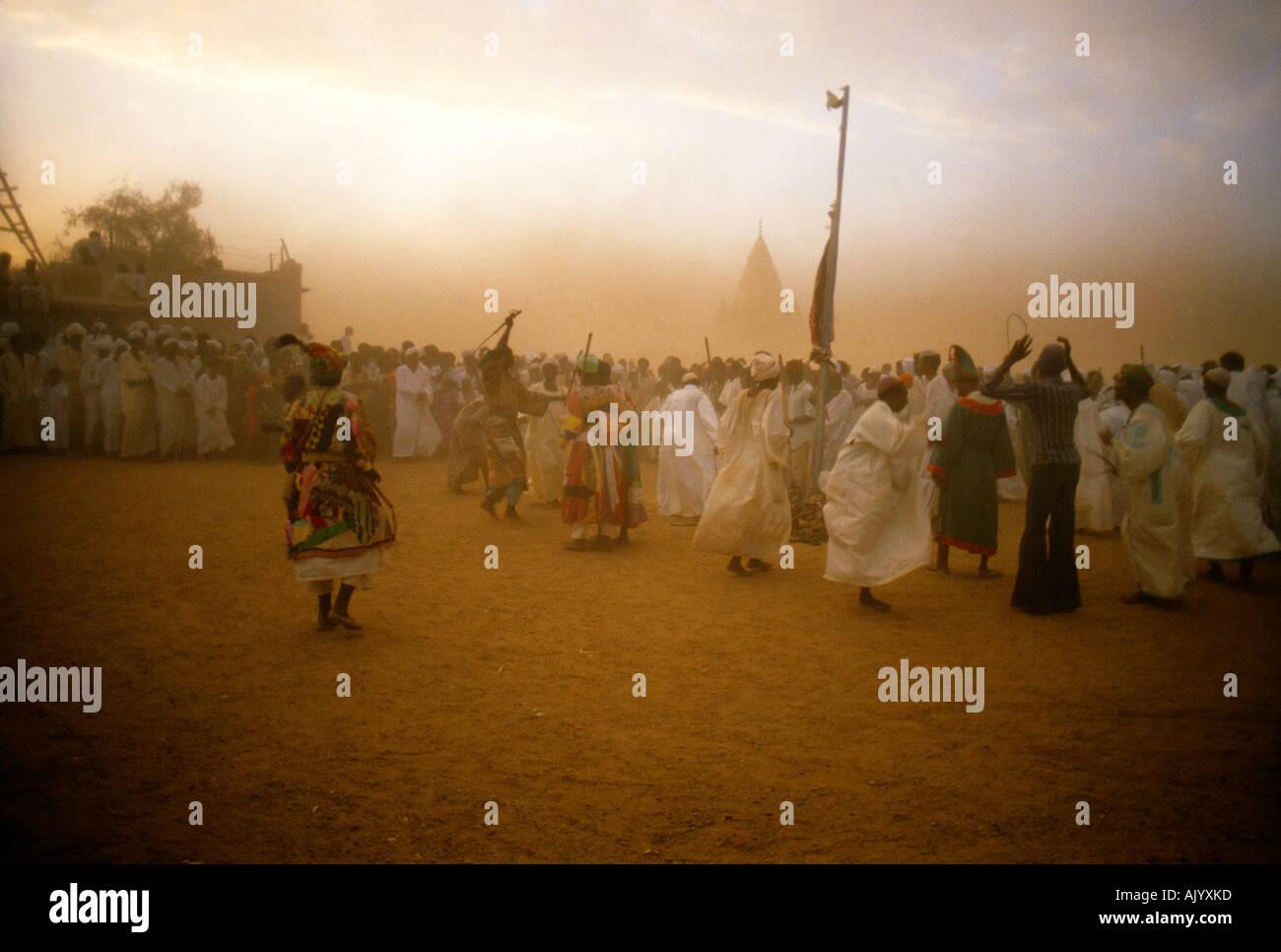 Omdurman Sudan Dervish Dancers Dancing In A Sandstorm - Stock Image