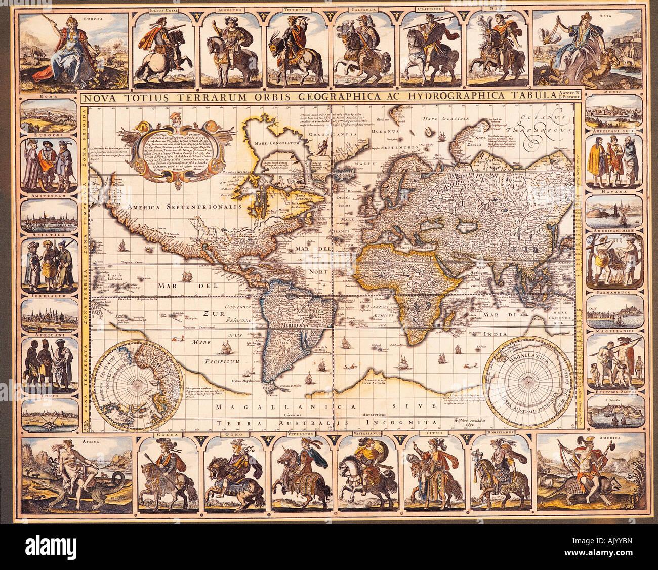 Historical map of the world. Nova totius Terrarum Orbis geographica ac hydrographica tabula by Hendrik Hondius, Stock Photo