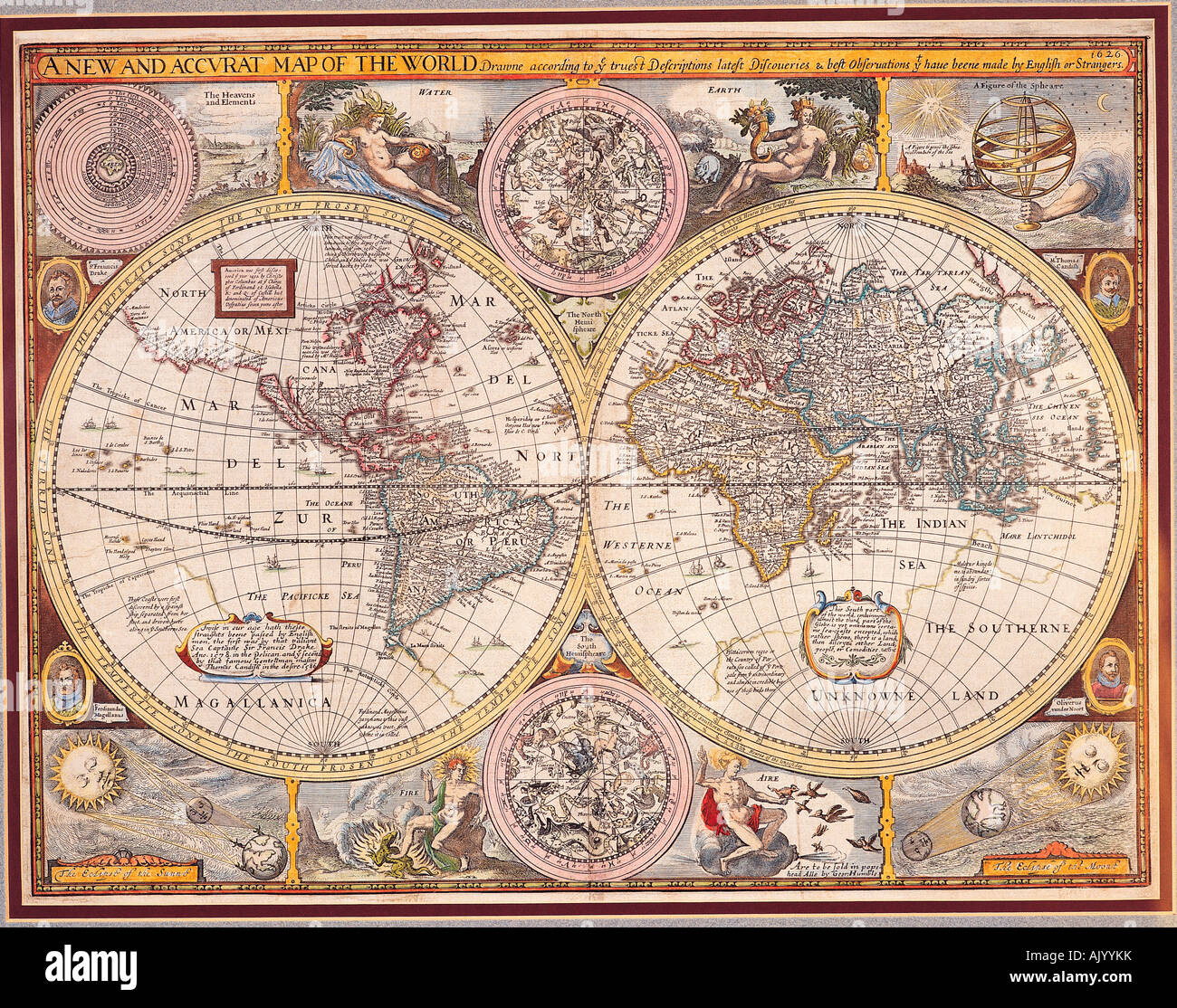 A New And Accvrat Map Of The World 1626.Historical Map Of The World A New And Accurat Map Of The World