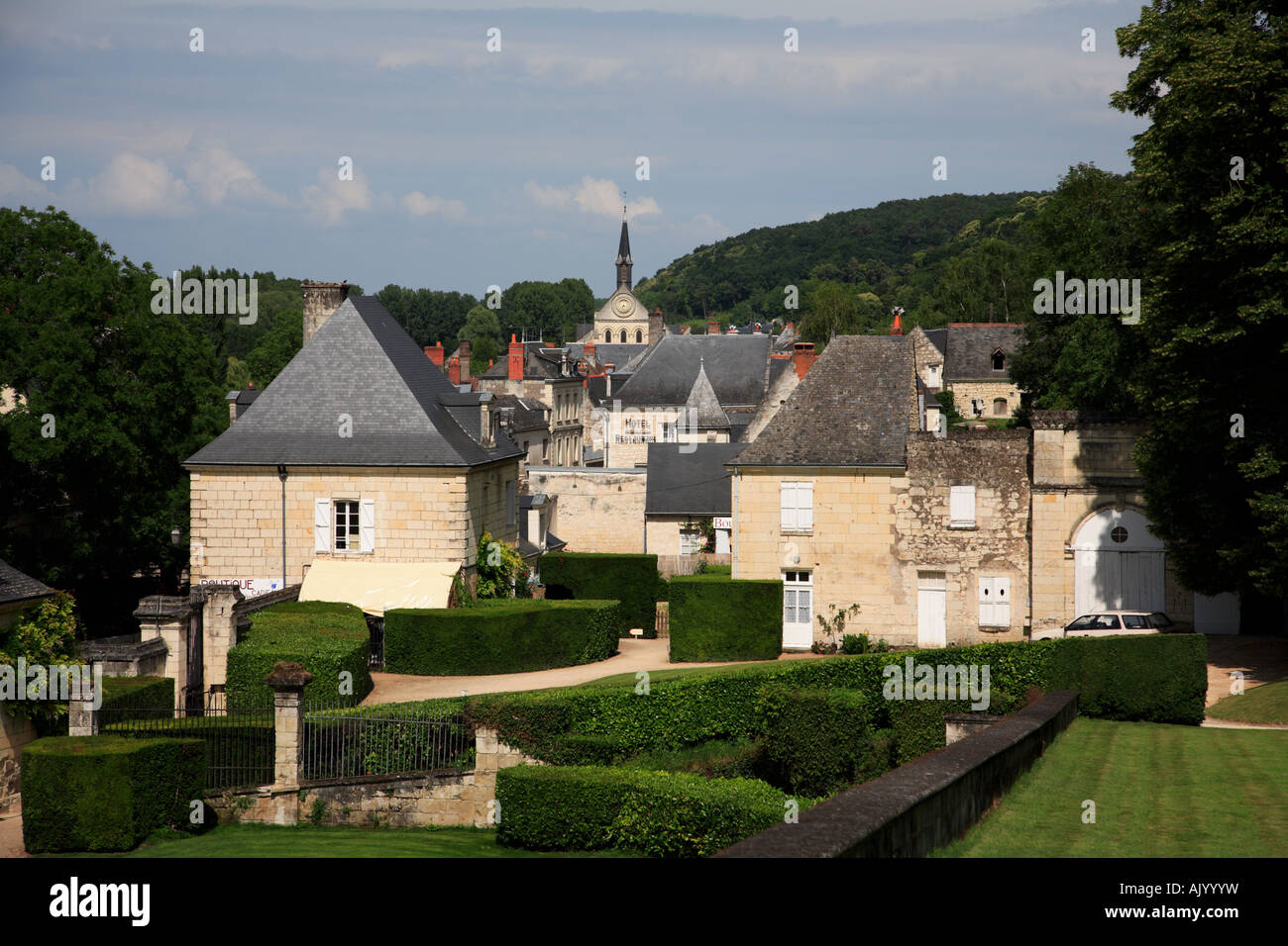 The village of Ussé seen from the grounds of the Château - Stock Image