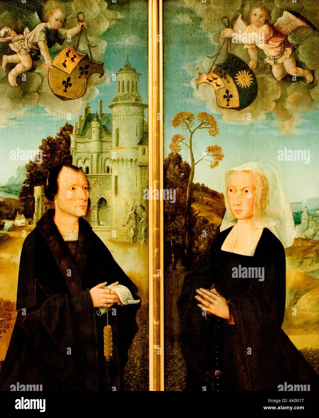 Coswijn van der Weyden 1465 1538  Portraits of Frans Colibrant town clerk of the town Antwerp and his wife Lysbeth - Stock Image