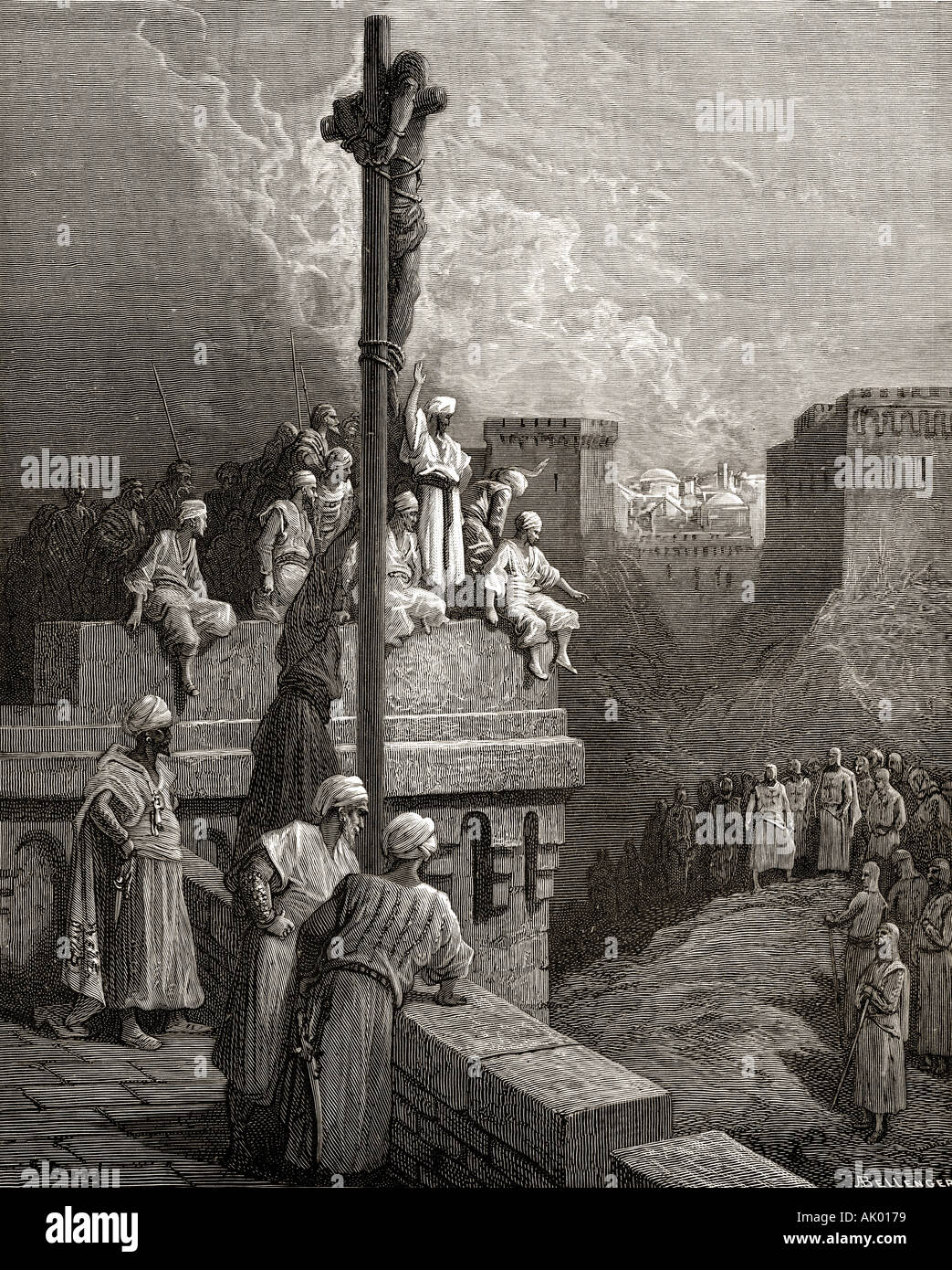 Gerard of Avesnes exposed on the walls of Arsuf. First crusade,1096 -1146. - Stock Image