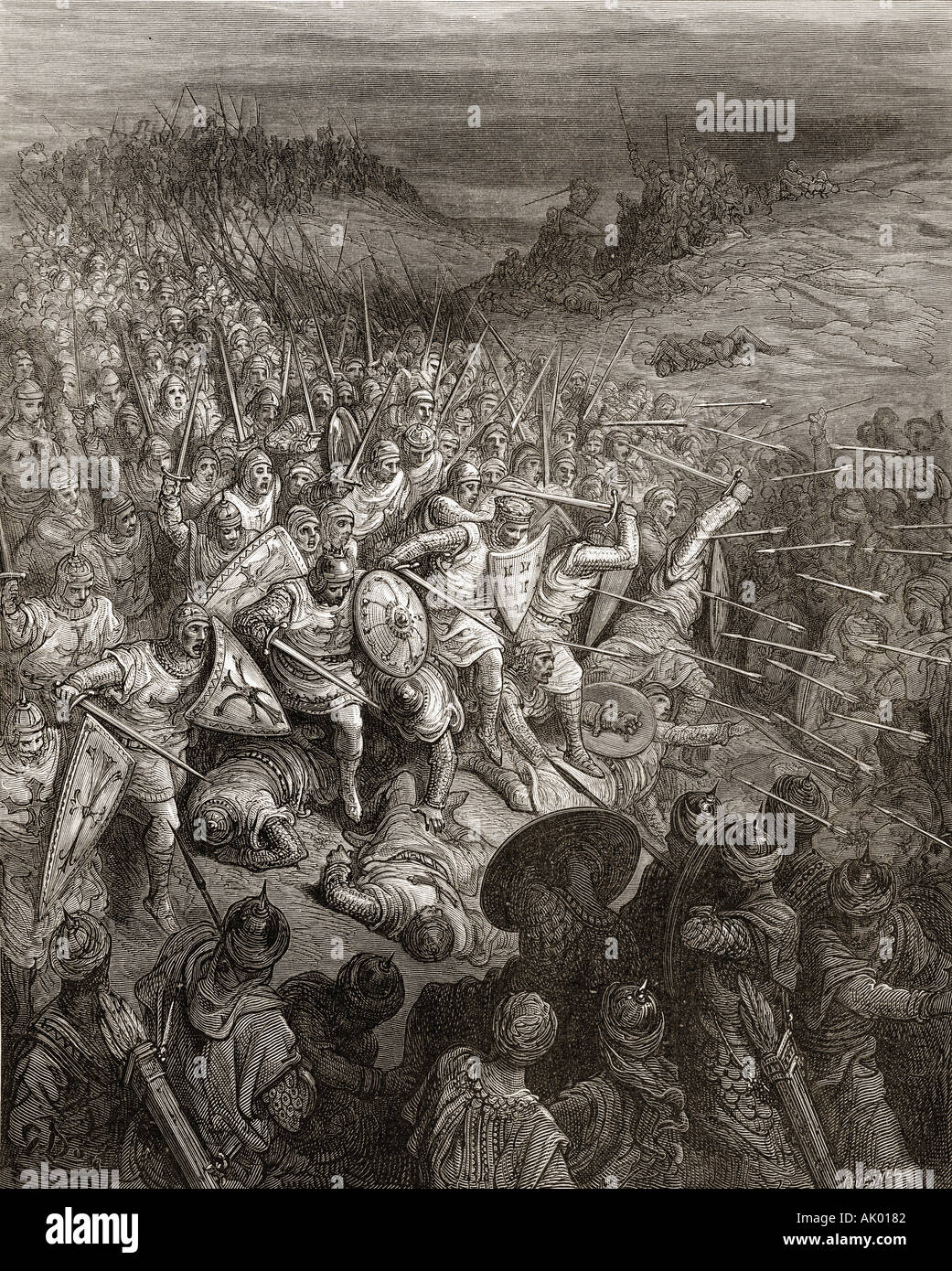 Godfrey's soldiers drive through the Muslim army during the first crusade 1096 - Stock Image