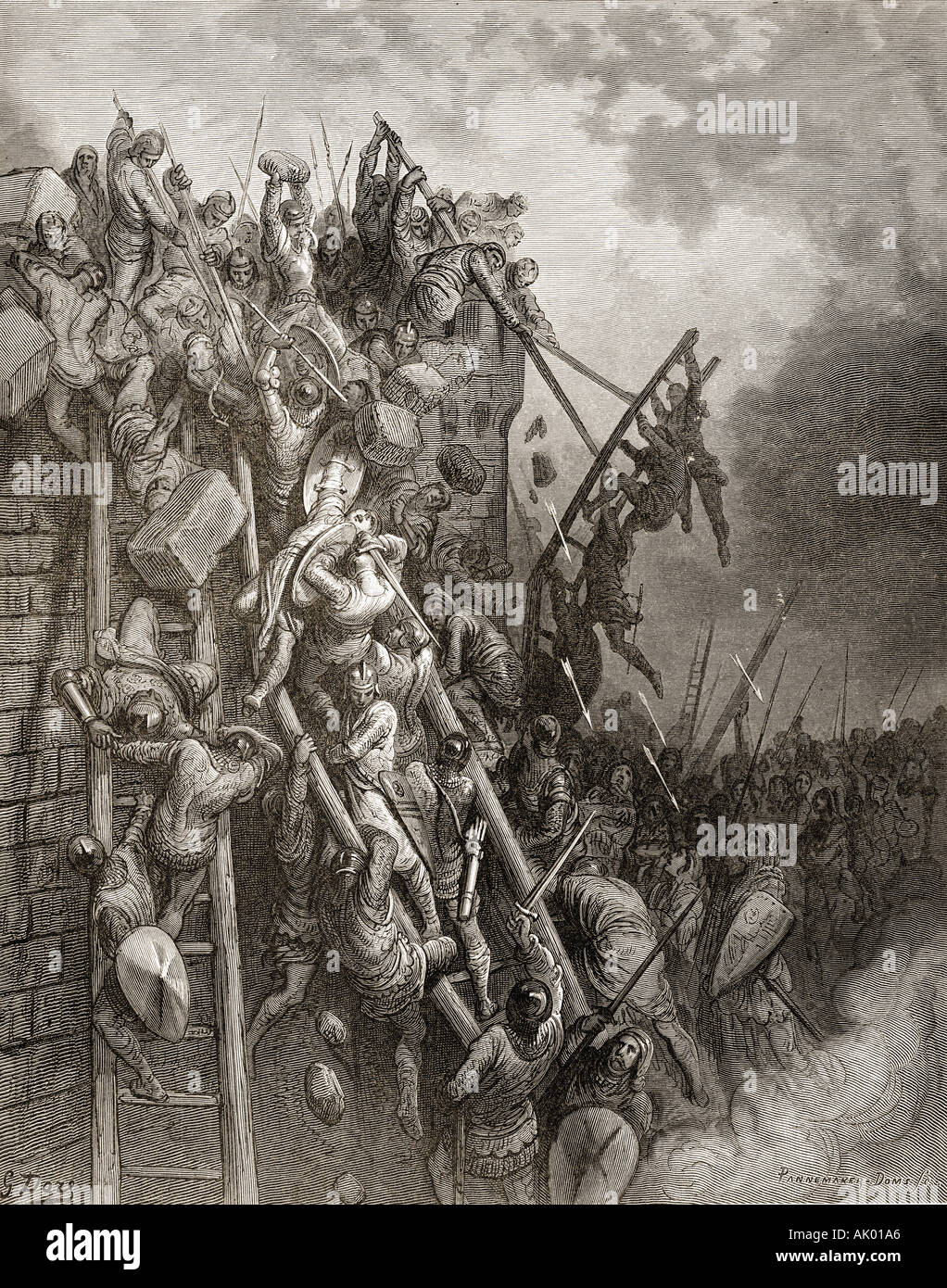 The army of Priest Volkmar and Count Emicio aka Count Emich of Leisingen, attack Merseburg. - Stock Image