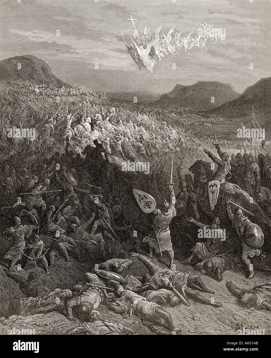 The Siege of Nicaea, during the first crusade 1097.  By Gustave Doré. - Stock Image