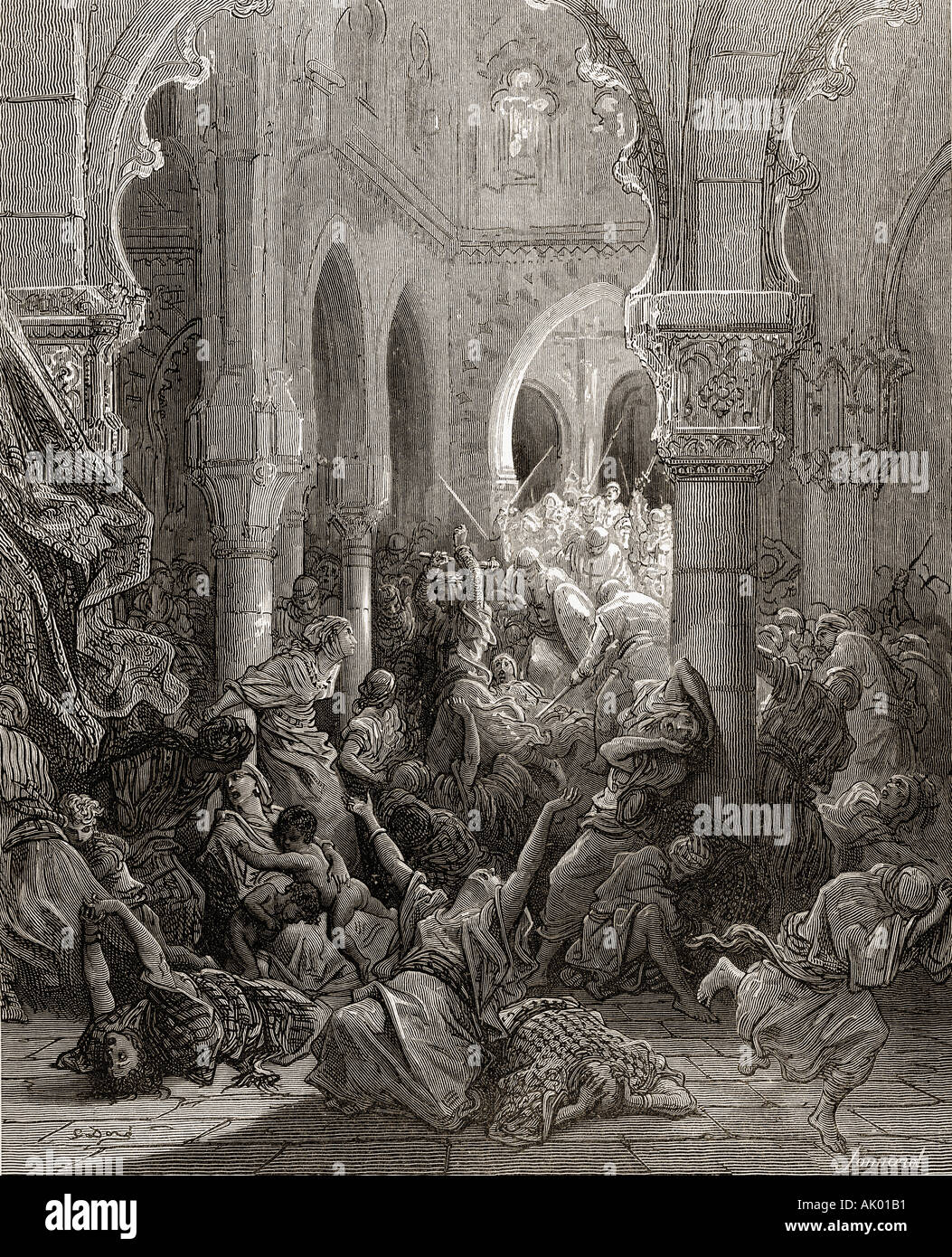 The crusaders massacre the inhabitants of Caesarea during the first crusade, 1096 -1146. - Stock Image