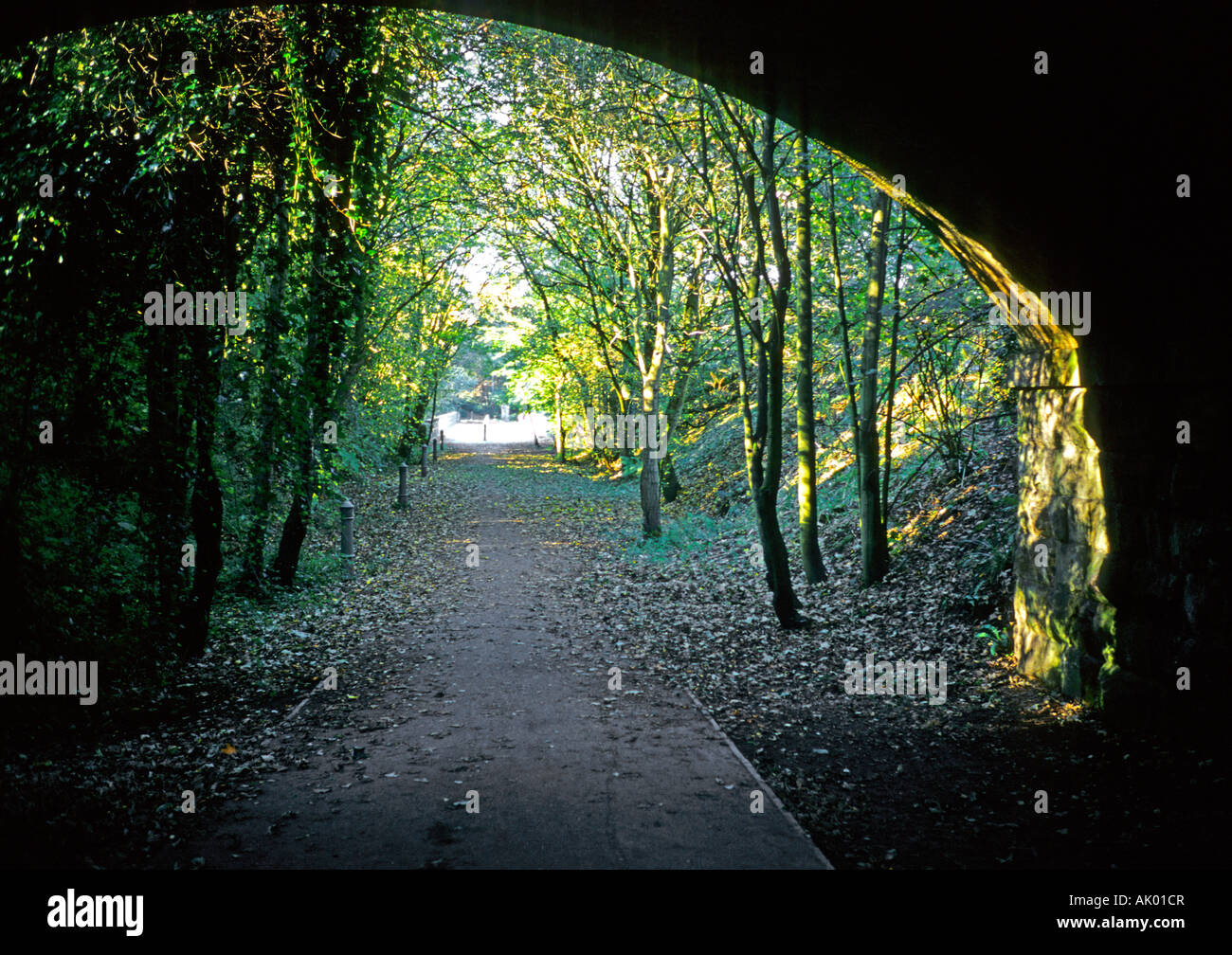 Looking along the old Lancaster to Hellifield railway route now a footpath and cycle way near the 'Crook O Lune' - Stock Image