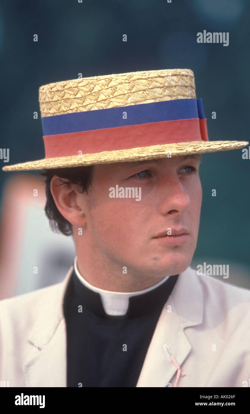 Vicar in straw boater Henley Royal Regatta. Henley on Thames  Oxfordshire Oxon. UK HOMER SYKES - Stock Image