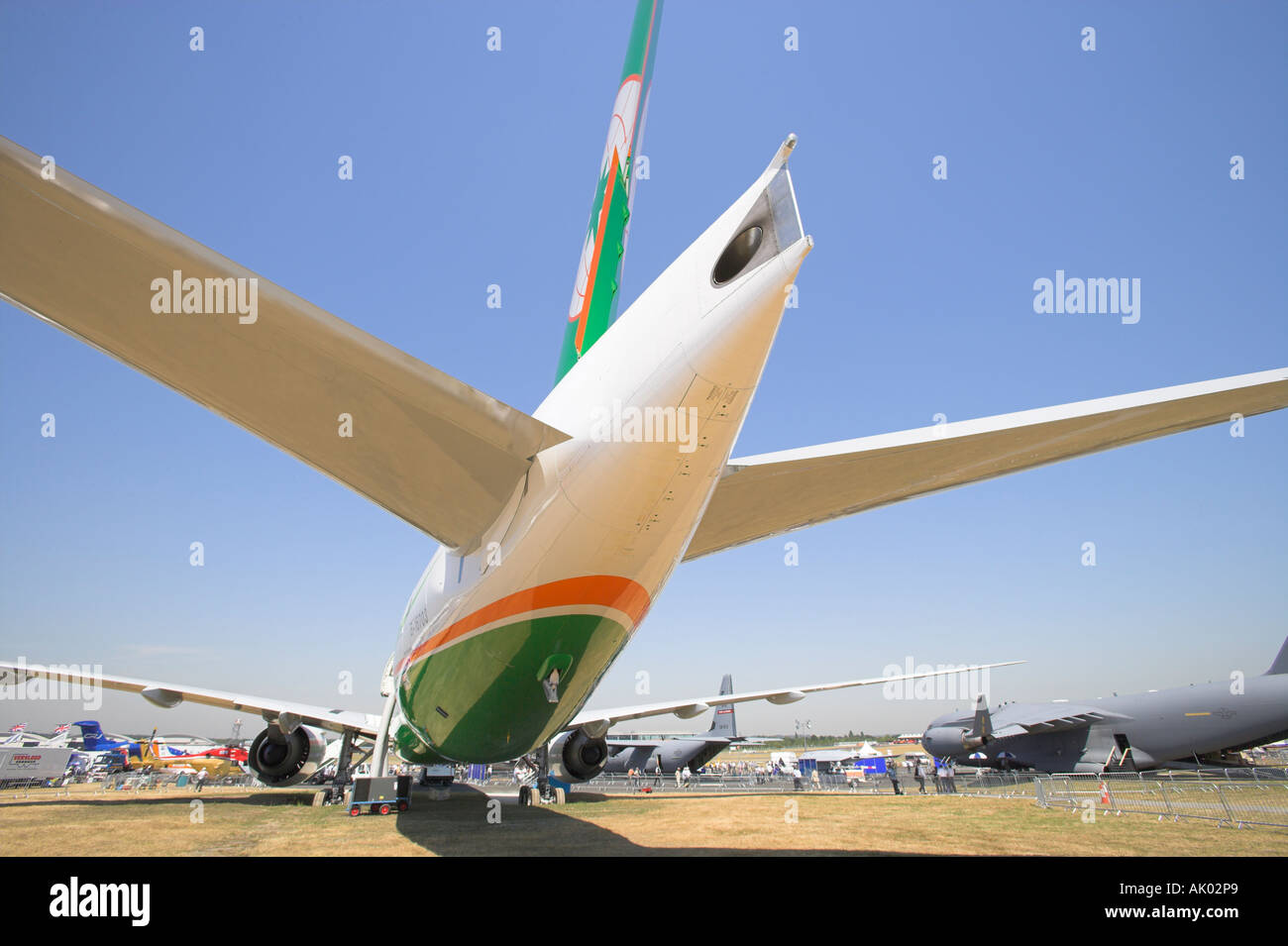 Rear view of Boeing 777-300 ER - Stock Image