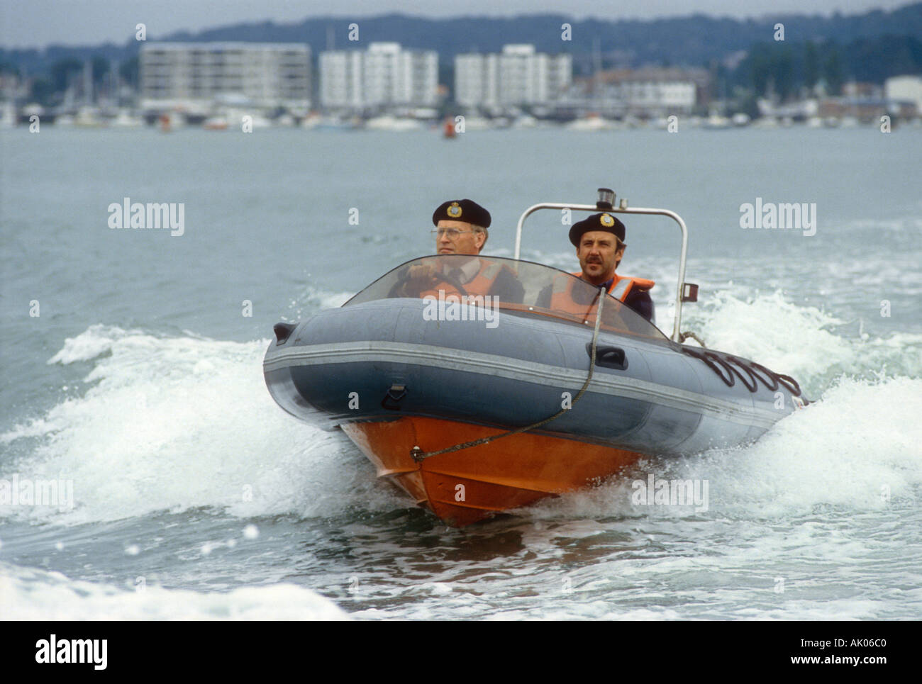 Customs and Excise officers on patrol in an Avon Sea Rider