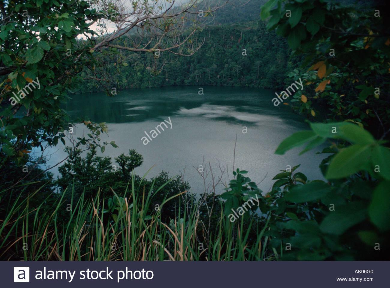 Volcanic lake / Danau Tolire / Krater-See - Stock Image