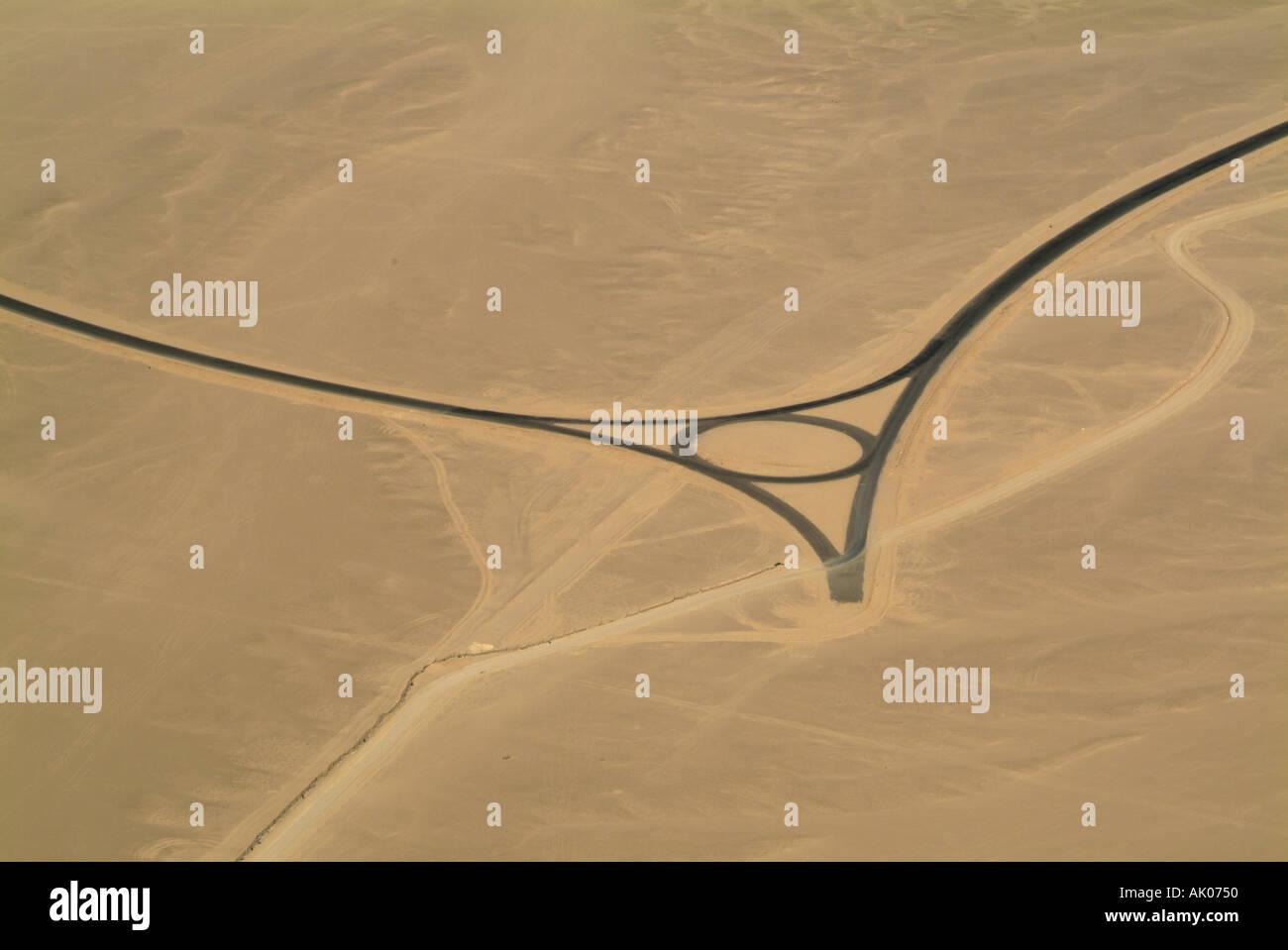 Road in the desert landscape Hurgada, Red Sea, Egypt - aerial view Stock Photo