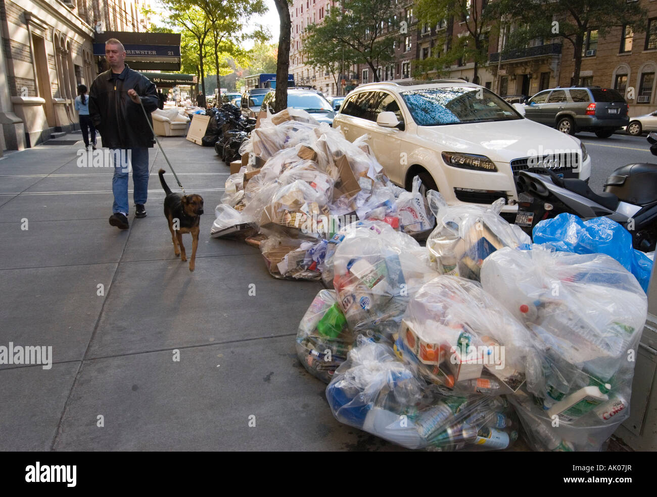 Bags of Recyclables left on the Curb for Pickup on Manhattan s Upper West Side - Stock Image