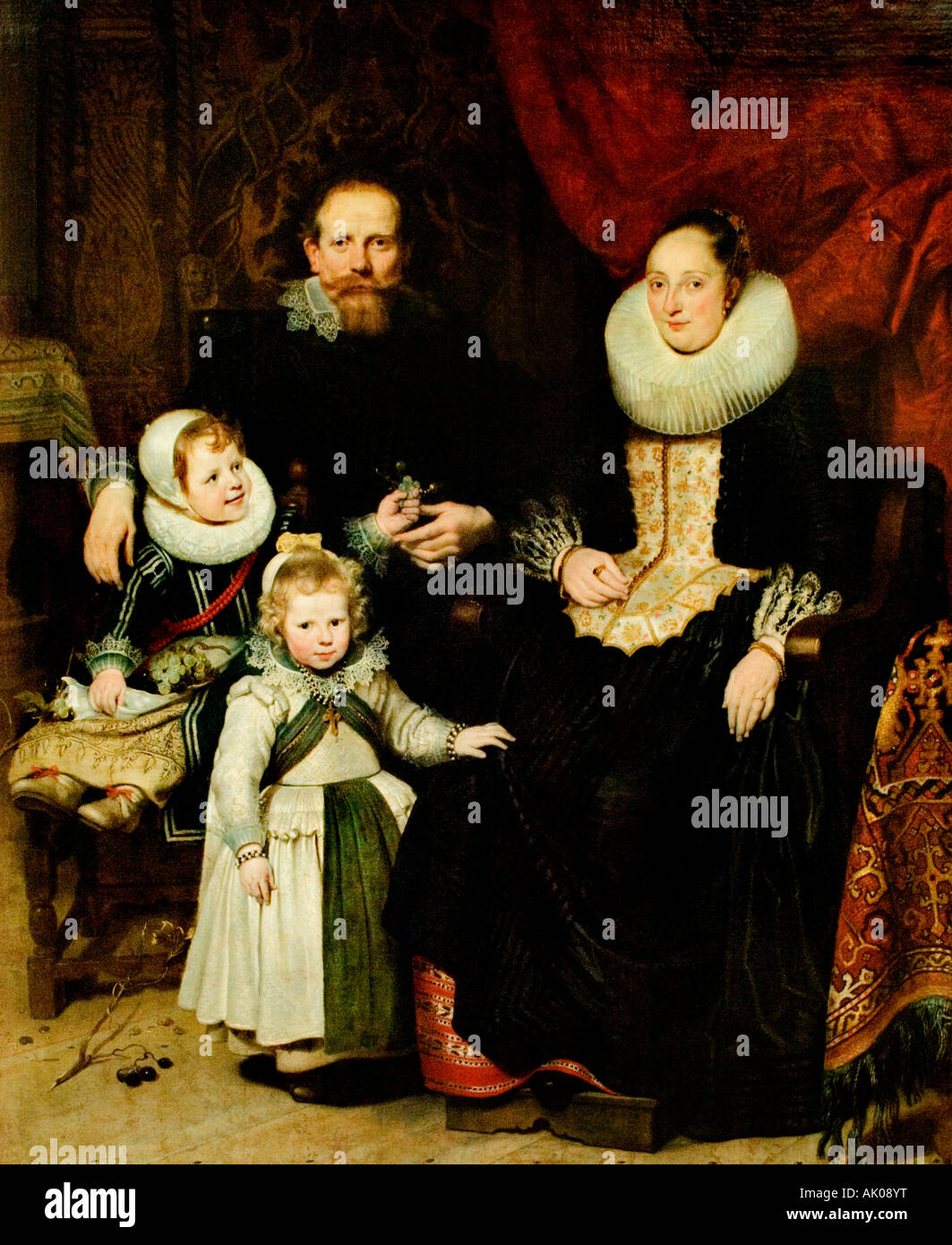 Selfportrait of the artist and Family by Cornelis de Vos 1584-1651 Flemish Belgian Belgium - Stock Image