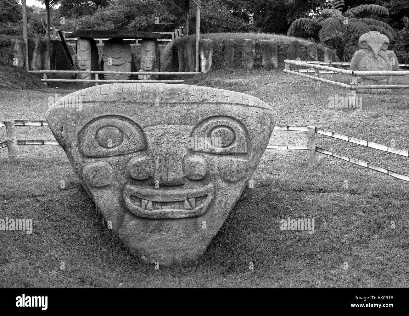 Huge triangular shape head big eye nose bird Gods Divinity celebrate faith worship San Agustín Colombia South Latin America - Stock Image