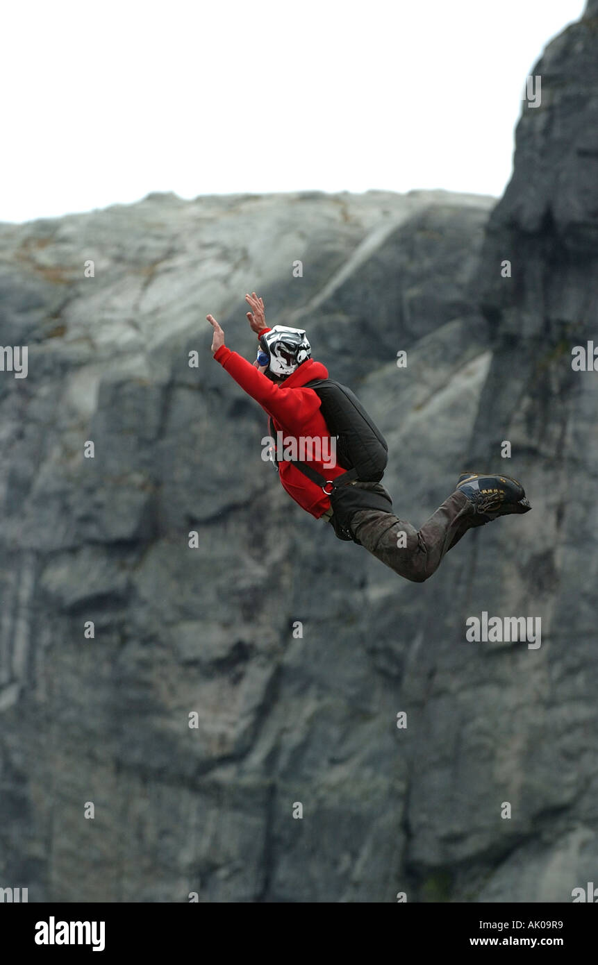 BASE jumper jumping - Stock Image