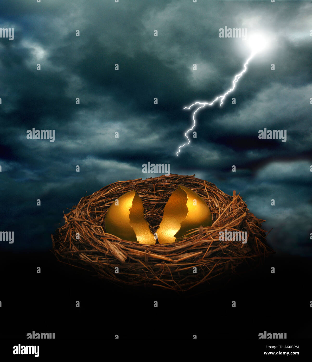 A cracked golden nest egg under a dark cloudy sky with a bolt of lightning Could symbolize financial crash threat - Stock Image