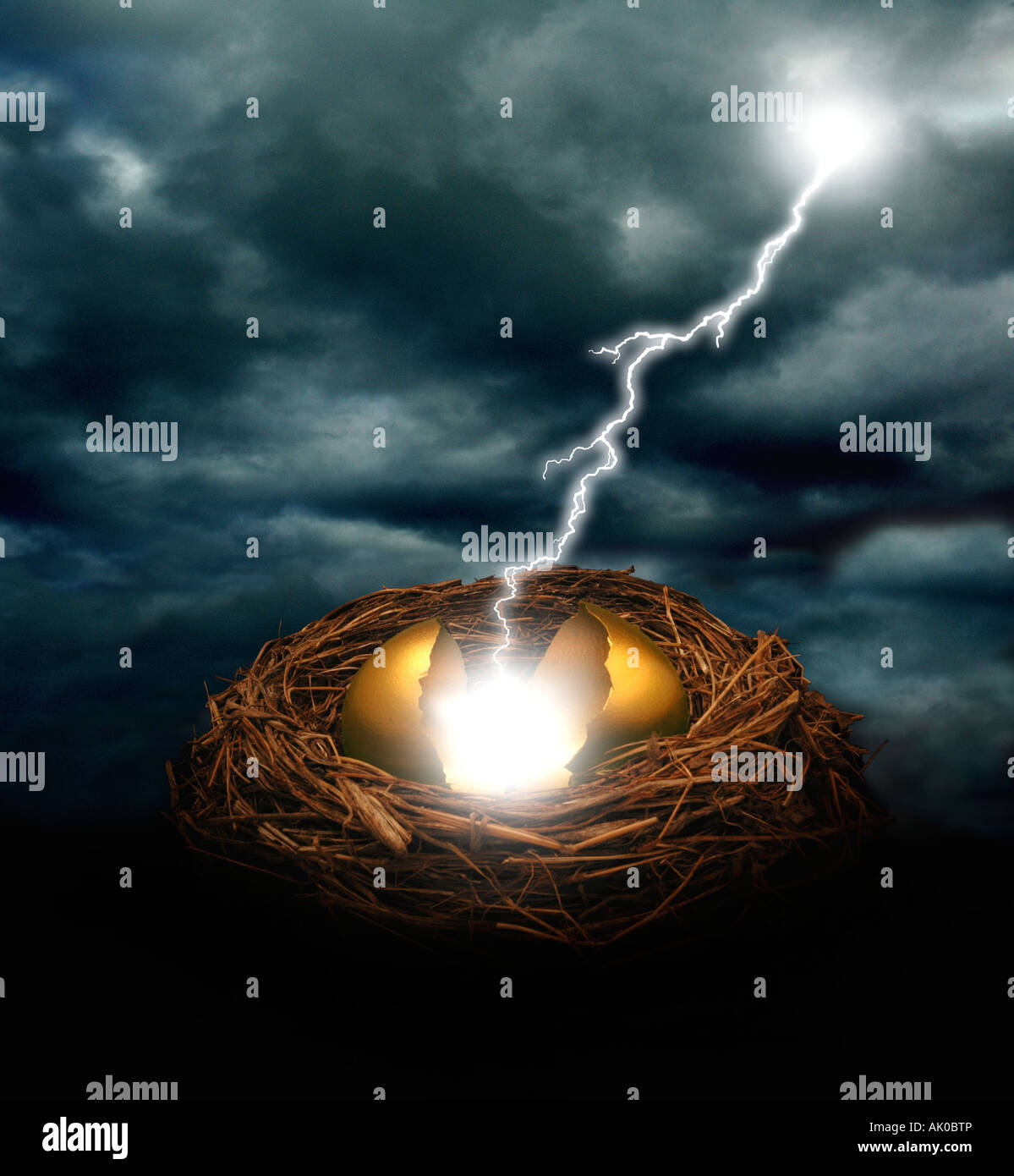 A golden nest egg cracked open by a bolt of lightning under a dark cloudy sky Could symbolize financial crash threat - Stock Image