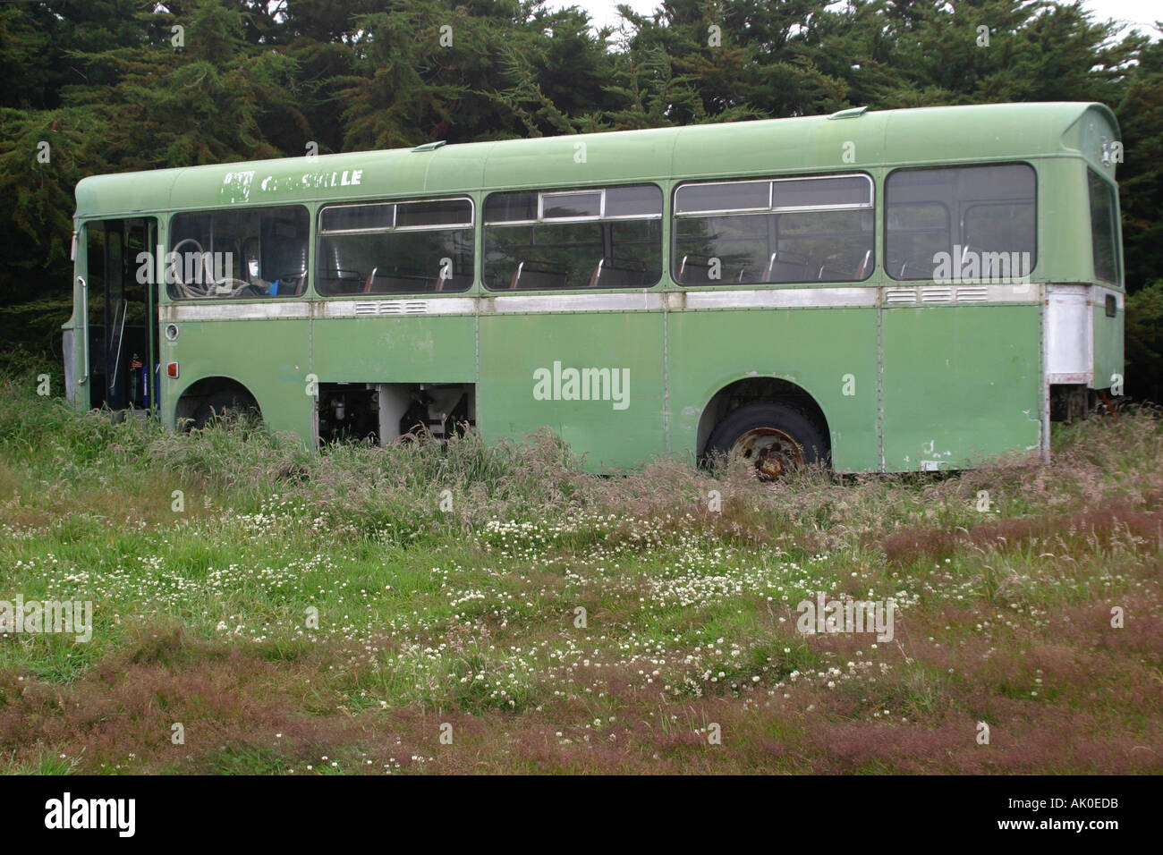 Derelict bus on Westpoint island in the Falkland Islands Stock Photo