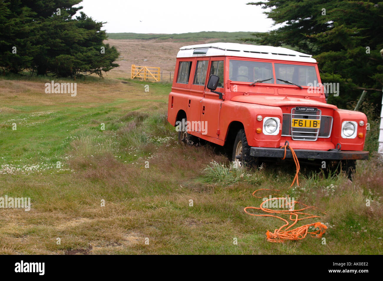 old red Landrover on Westpoint island in the Falkland Islands Stock Photo