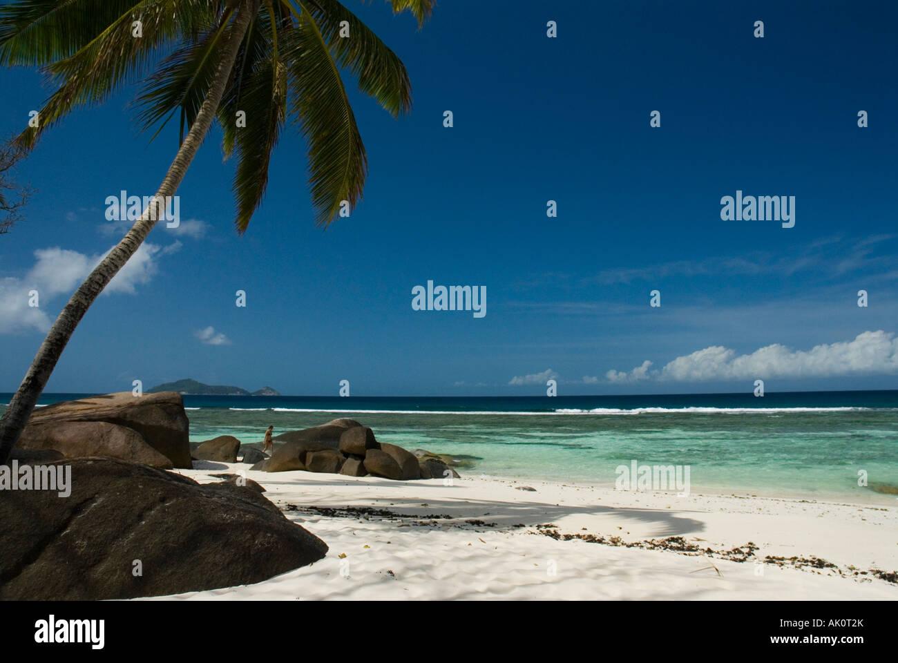 White sandy beach Labriz Resort Silhouette Island Seychelles Indian Ocean - Stock Image