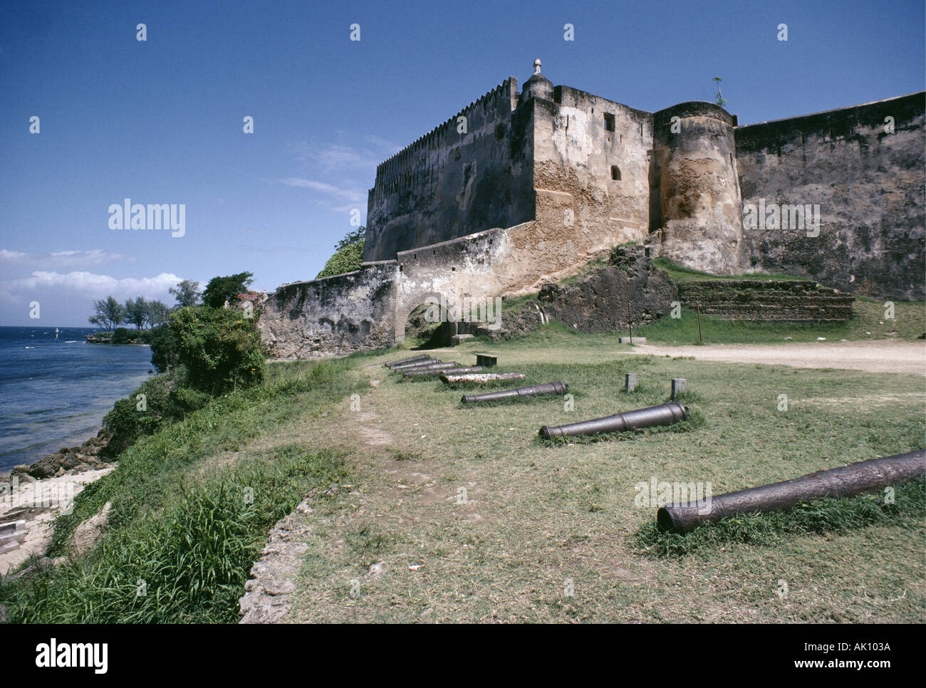 Fort Jesus Mombasa Kenya East Africa Completed by the Portuguese in 1598 the Fort is now a National Museum - Stock Image