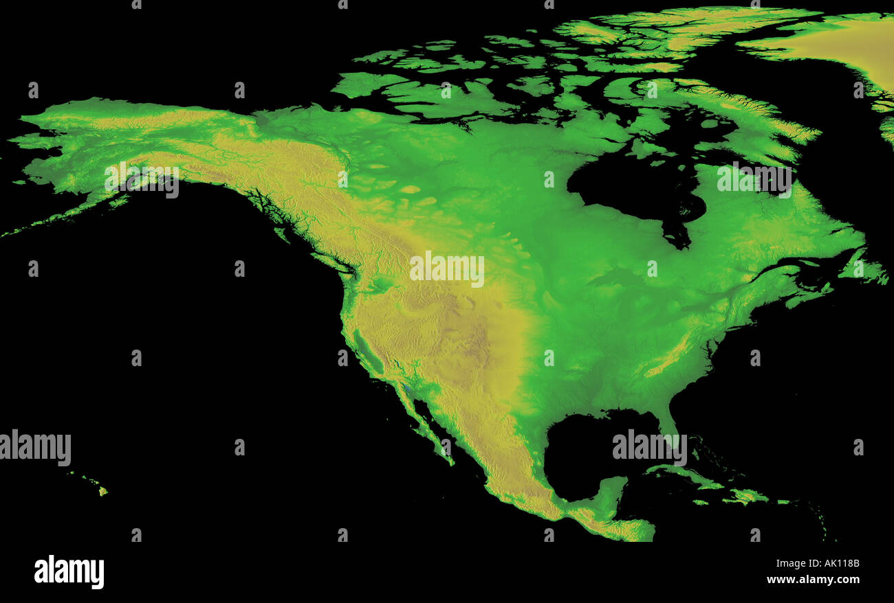 Digital Elevation map of North America Earth from Space Stock Photo ...