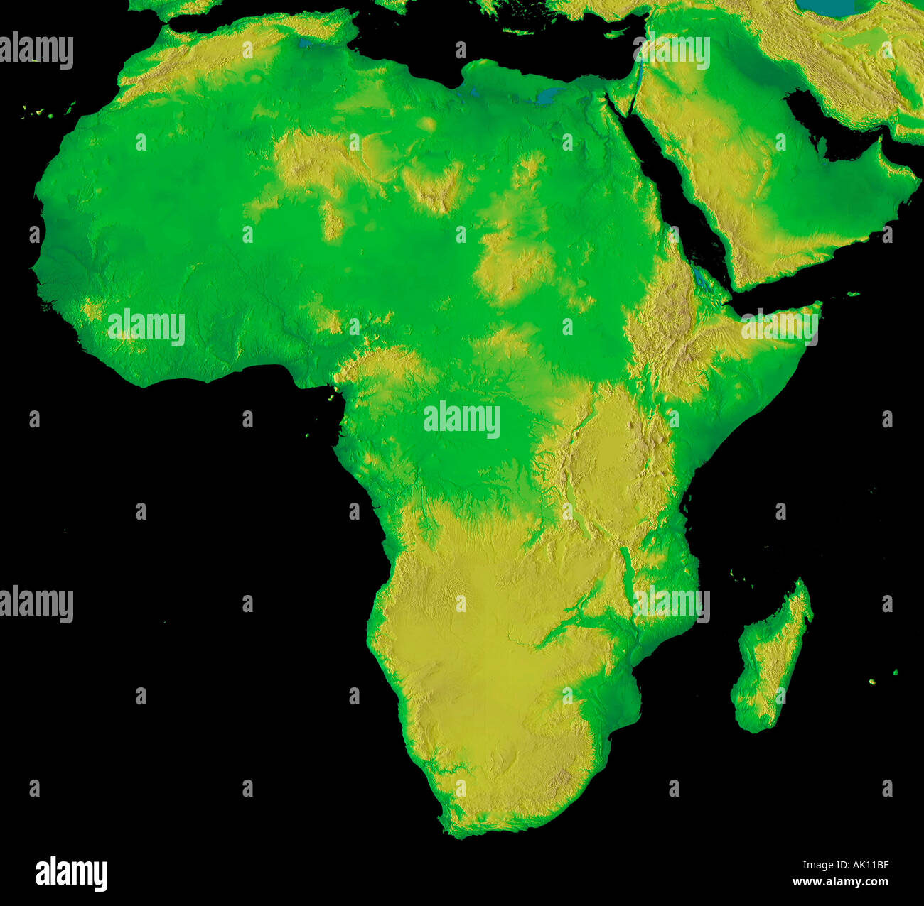Elevation Map Of Africa With Key.Digital Elevation Map Of Africa Earth From Space Stock Photo