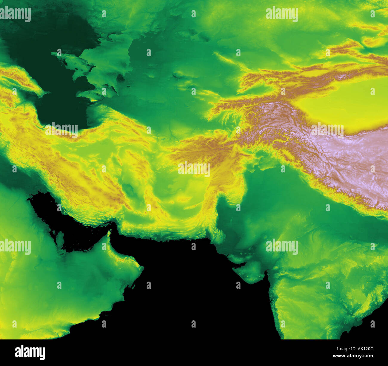 Digital Elevation Map Of Arabian Gulf And Central Asia Earth From