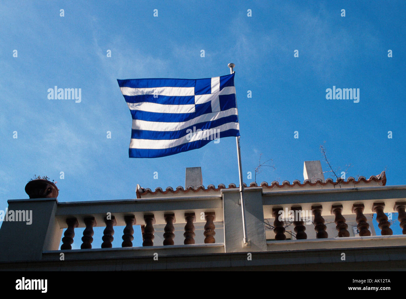 Grecian flag / Griechische Flagge / Fahne - Stock Image