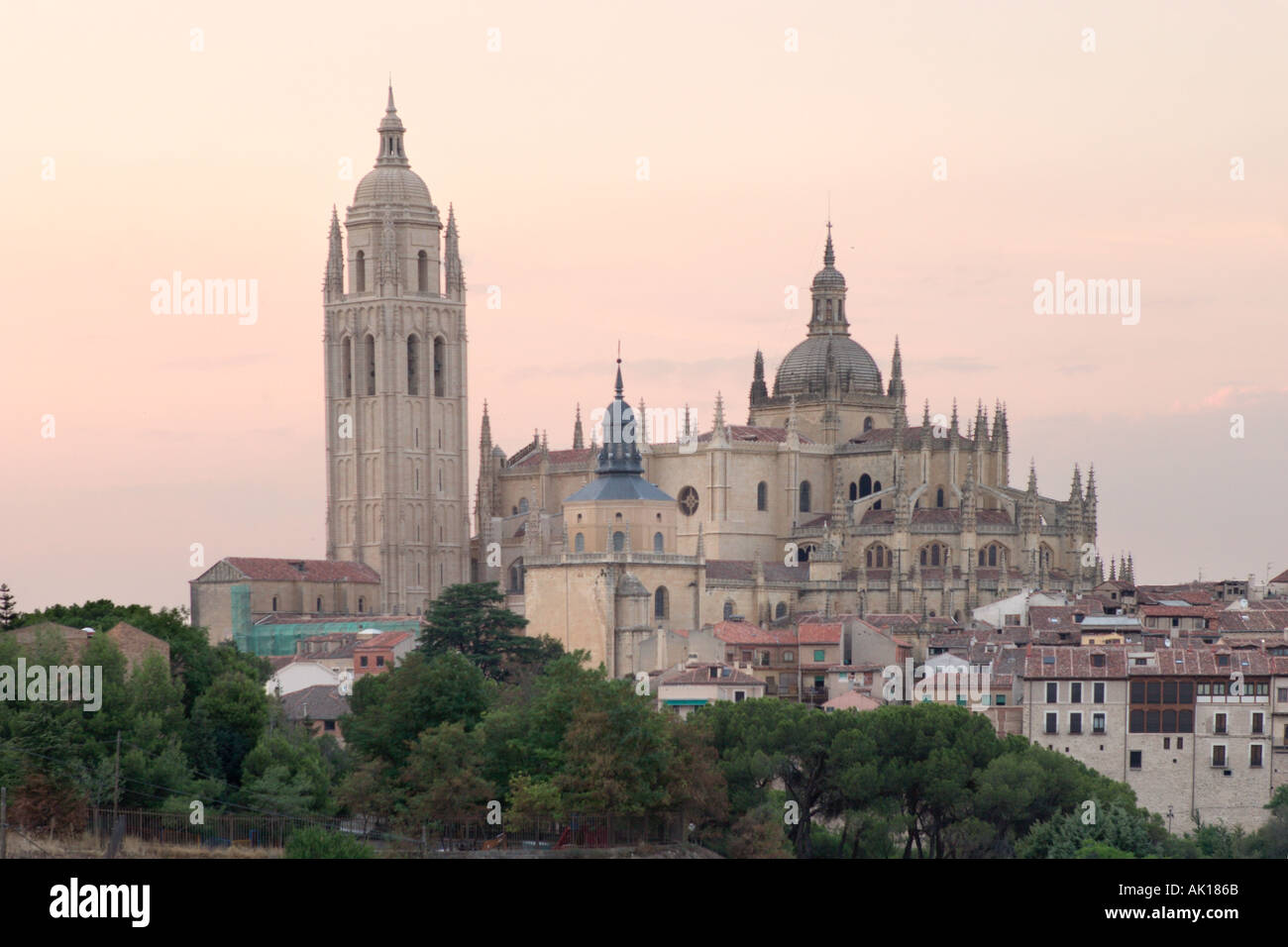 Cathedral at sunset, Segovia, Spain - Stock Image