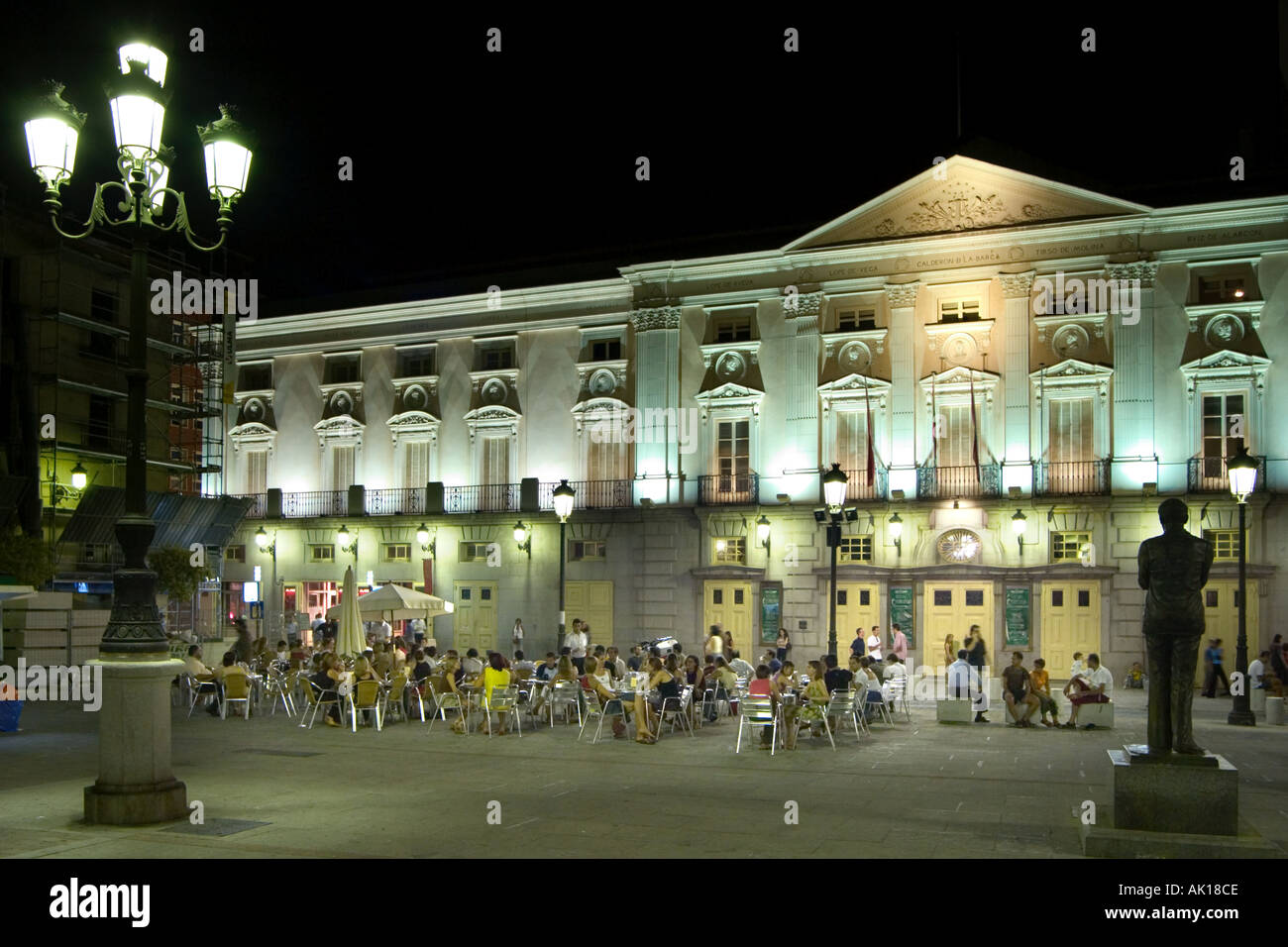 Restaurant in front of the Teatro Espanol near Plaza Santa Ana, Madrid, Spain - Stock Image