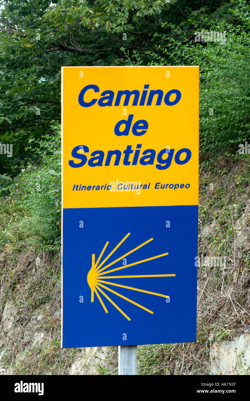 Sign for the Camino de Santiago (Way of St James) pilgrimage route, Galicia, Northern Spain - Stock Image