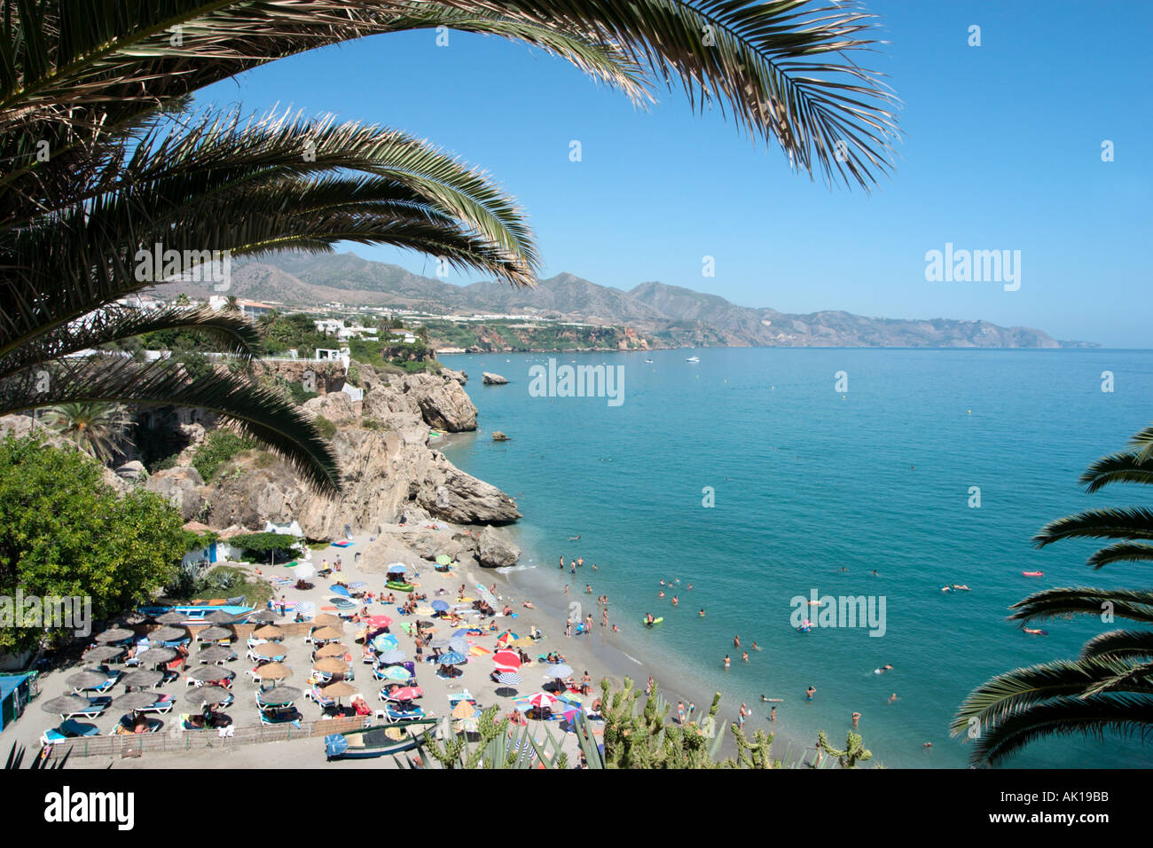 View from the Balcón de Europa in the old town , Nerja, Costa del Sol, Andalusia, Spain Stock Photo