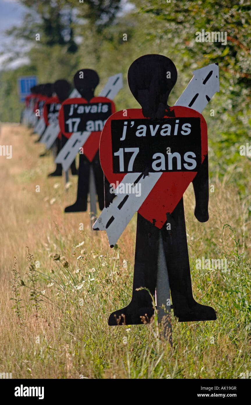 Roadside indicators at the site of fatal road traffic accident on the RN102 near Le Puy en Velay France - Stock Image
