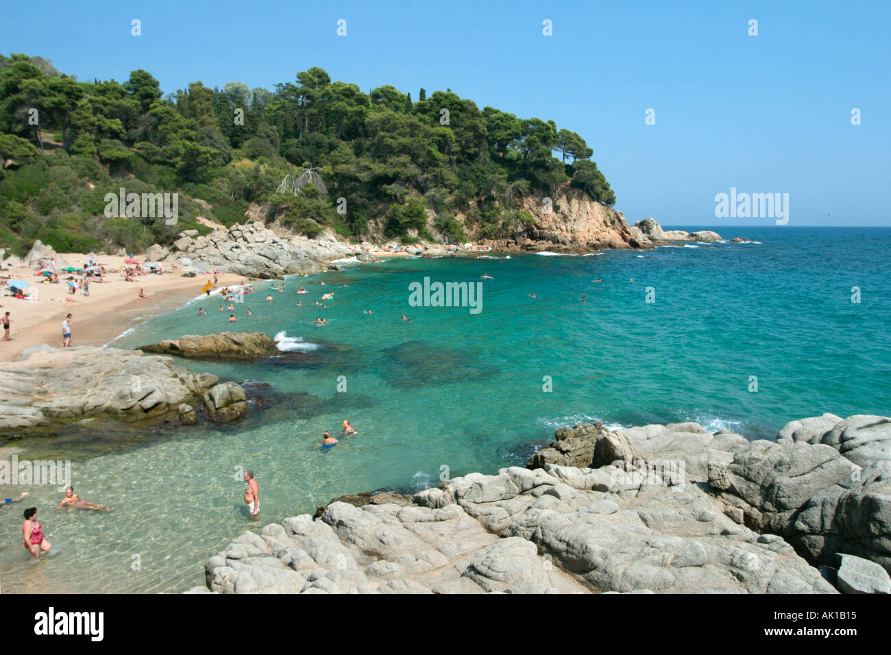 Small beach of Sa Boadella south west of Lloret de Mar, Costa Brava, Catalunya, Spain Stock Photo
